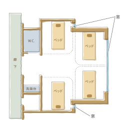 渡辺病院の居室紹介・一般病室4人部屋図面